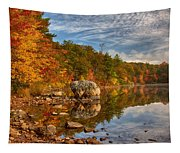 Morning Reflection Of Fall Colors Tapestry