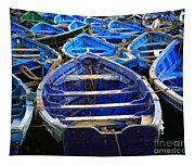 Moroccan Blue Fishing Boats Tapestry