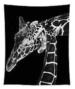 Mother And Baby Giraffe Tapestry by Adam Romanowicz