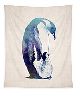 Mother And Baby Penguin Tapestry by World Art Prints And Designs