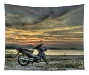 Motorbike At Sunset Tapestry