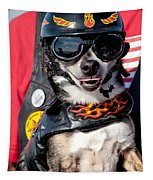 Motorcycle Chihuahua Tapestry