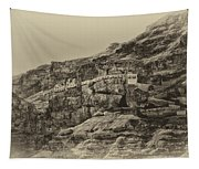 Mount Of The Temptation Monestary Jericho Israel Antiqued Tapestry