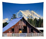 Mount Rainier And Barn Tapestry