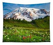 Mount Rainier Flower Meadow Tapestry