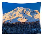 Mount Rainier Winter Evening Tapestry