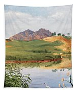 Mountain Landscape With Egret Tapestry