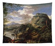 Mountain Landscape With Figures Tapestry