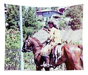 Mountain Man On A Horse Tapestry
