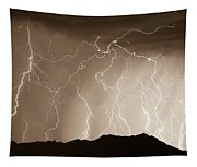 Mountain Storm - Sepia Print Tapestry