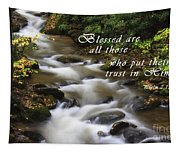 Mountain Stream With Scripture Tapestry