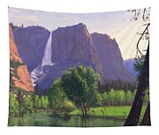 Mountains Waterfall Stream Western Mountain Landscape Oil Painting Tapestry