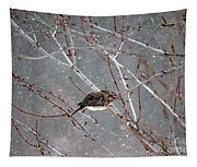 Mourning Dove Asleep In Snowfall Tapestry