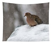 Mourning Dove In Snow Tapestry