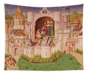 View Of A City With Laborers Paving Roads Leading Up To The City Gates With Cobbles Tapestry