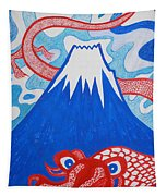 Mt. Fuji And A Red Dragon Tapestry