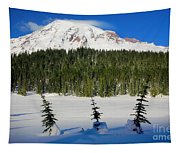 Mt Rainier And Three Trees Tapestry