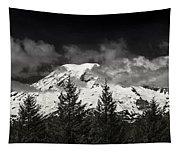 Mt Rainier Panorama B W Tapestry