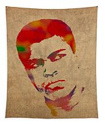 Muhammad Ali Watercolor Portrait On Worn Distressed Canvas Tapestry