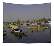 Multiple Number Of Shikaras On The Water Of The Dal Lake In Srinagar Tapestry