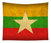 Myanmar Burma Flag Vintage Distressed Finish Tapestry