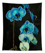Mystique Blue Orchids Tapestry