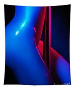 Naked Woman Pole Dancing Closeup Of Nude Body Tapestry