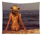Naked Woman Sitting At The Beach On Sand Tapestry
