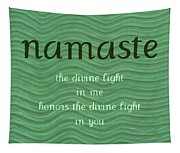 Namaste With Blue Waves Tapestry