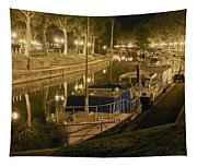 Narbonne France Canal De La Robine At Night Dsc01657  Tapestry