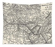 Nashville Railway Map Vintage Tapestry