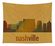 Nashville Tennessee Skyline Watercolor On Parchment Tapestry