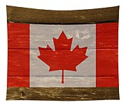 Canada National Flag On Wood Tapestry