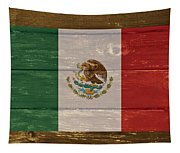 Mexico National Flag On Wood Tapestry