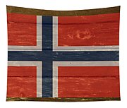 Norway National Flag On Wood Tapestry