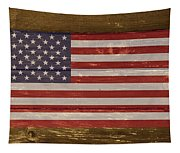 United States Of America National Flag On Wood Tapestry