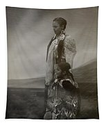 Native American Two Woman Bw Tapestry