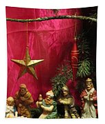 Nativity Scene In Red Tapestry