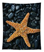 Nautical - Starfish On Black Rocks Tapestry