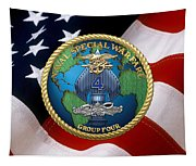 Naval Special Warfare Group Four - N S W G-4 - Over U. S. Flag Tapestry
