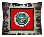 Naval Special Warfare Group Three - N S W G-3 - Over Navy S E A Ls Collage Tapestry