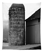 Near Infrared Old Michigan Barn With Silos Bw Usa Tapestry