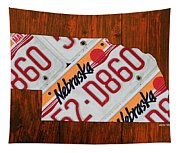 Nebraska License Plate Map Art Tapestry