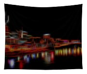 Neon Nashville Skyline At Night Tapestry