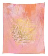 Nest- Pink And Gold Abstract Art Tapestry by Linda Woods