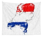 Netherlands Painted Flag Map Tapestry
