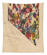 Nevada Map Vintage Watercolor Tapestry