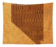 Nevada Word Art State Map On Canvas Tapestry