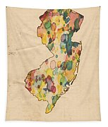 New Jersey Map Vintage Watercolor Tapestry