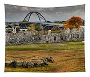 New Lake Champlain Bridge Over Fort Crown Point Panorama Tapestry